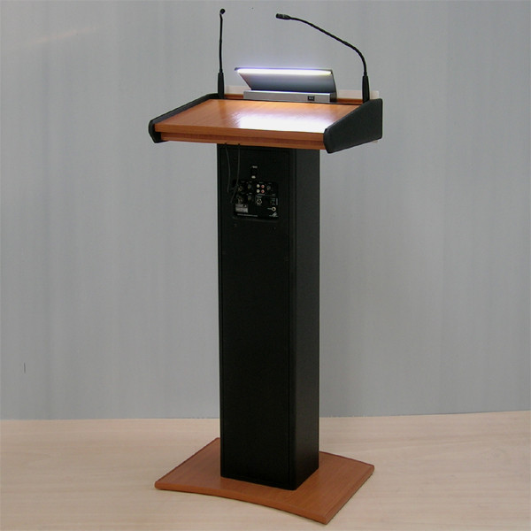 Wooden Lectern with Integrated Wireless Amplifier System