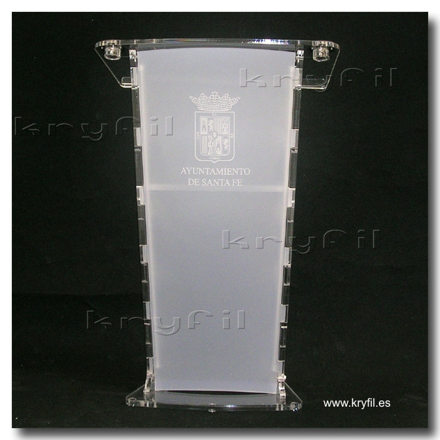 Acrylic lectern with lasser engrabed logo