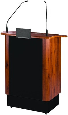 Adjustable height Lectern with integrated amplifier
