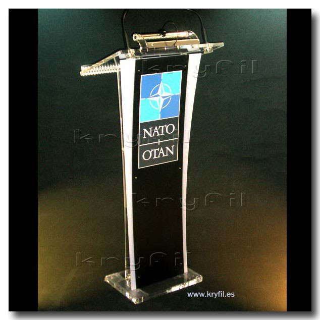 Acrylic lectern with LED lamp