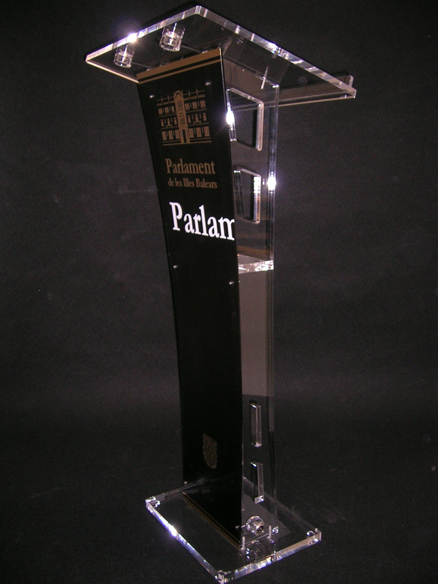 Acrylic Lectern with Satin Black Front Panel